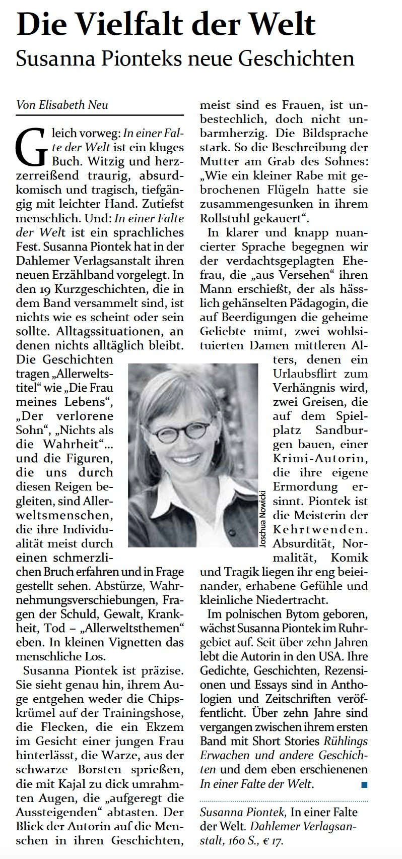 "Rezension von ""In einer Falte der Welt"" in der Jewish Voice from Germany"